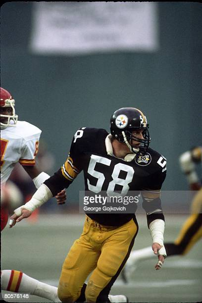 Linebacker Jack Lambert of the Pittsburgh Steelers pursues the play against the Kansas City Chiefs at Three Rivers Stadium on December 5 1982 in...