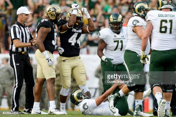 Linebacker Jacob Callier of the Colorado Buffaloes celebrates after a hit on quarterback Nick Stevens of the Colorado State Rams at Sports Authority...
