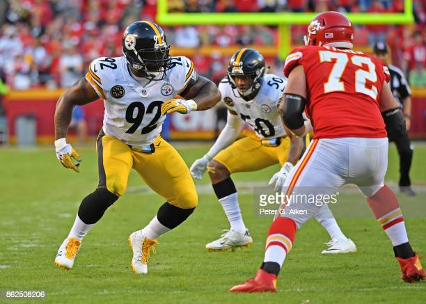 Linebacker James Harrison of the Pittsburgh Steelers gets set on defense against the Kansas City Chiefs during the second half on October 15 2017 at...