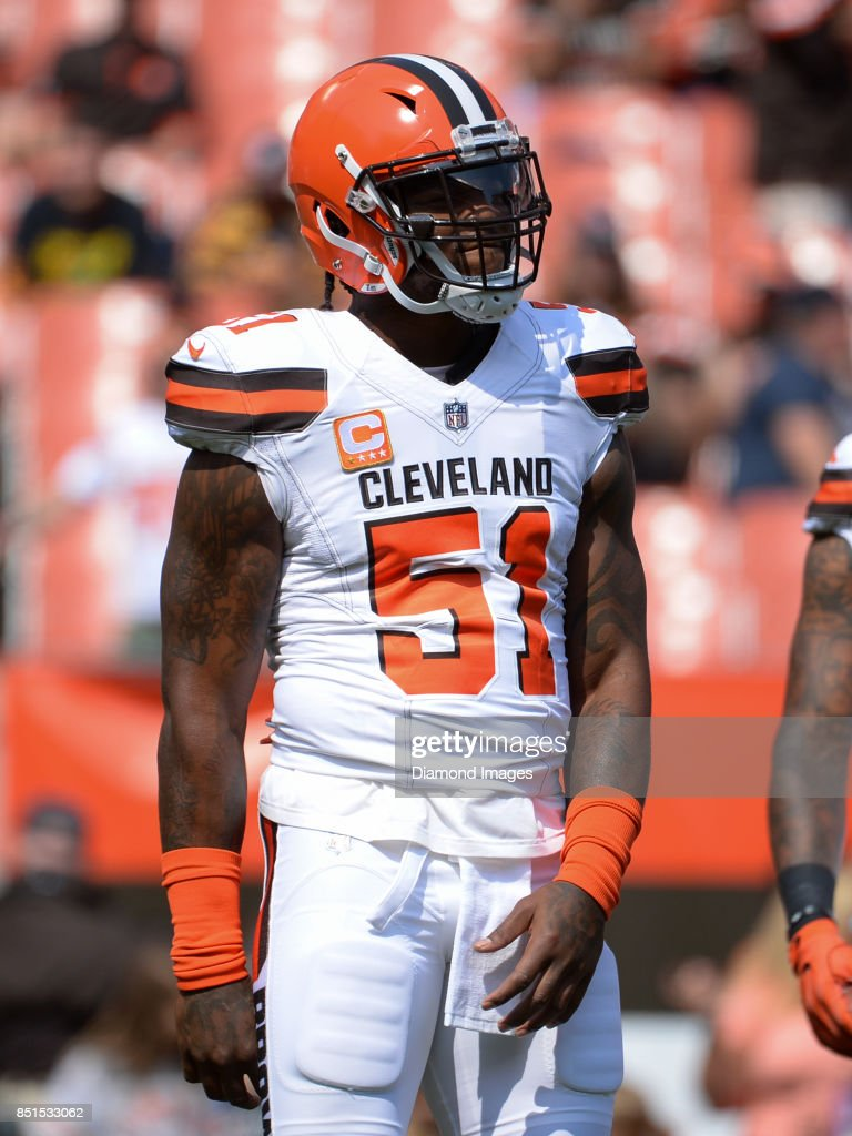 sneakers for cheap 813bf 1a350 ... Linebacker Jamie Collins Sr. 51 of the Cleveland Browns stands on the  field prior ...