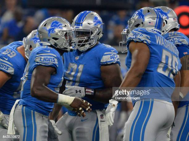 Linebacker Jarrad Davis of the Detroit Lions delivers a play call to the defensive huddle in the first quarter of a preseason game on August 25 2017...