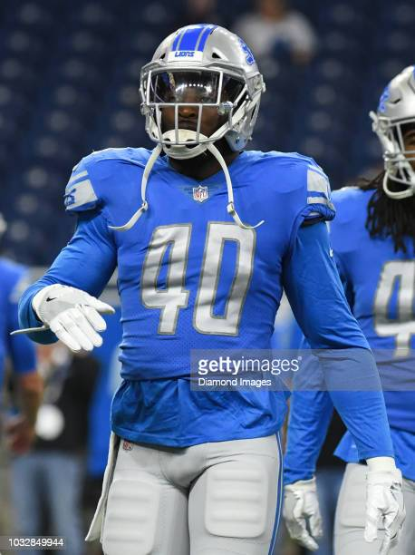 Linebacker Jarrad Davis of the Detroit Lions on the field prior to a preseason game against the Cleveland Browns on August 30, 2018 at Ford Field in...