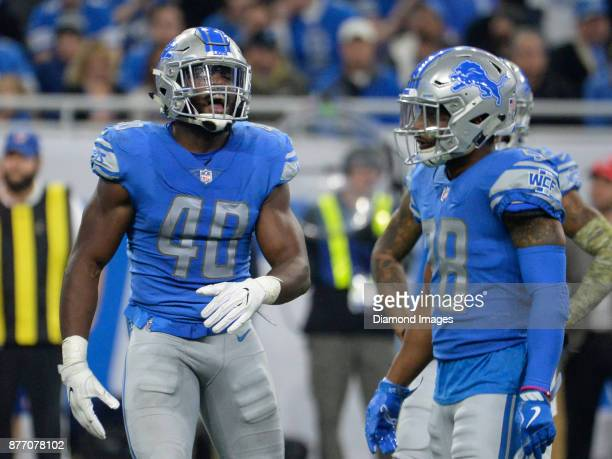 Linebacker Jarrad Davis of the Detroit Lions yells instructions to the defense in the second quarter of a game on November 12 2017 against the...