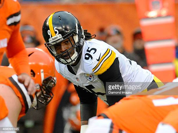Linebacker Jarvis Jones of the Pittsburgh Steelers awaits the snap from his position during a game against the Cleveland Browns on November 20 2016...