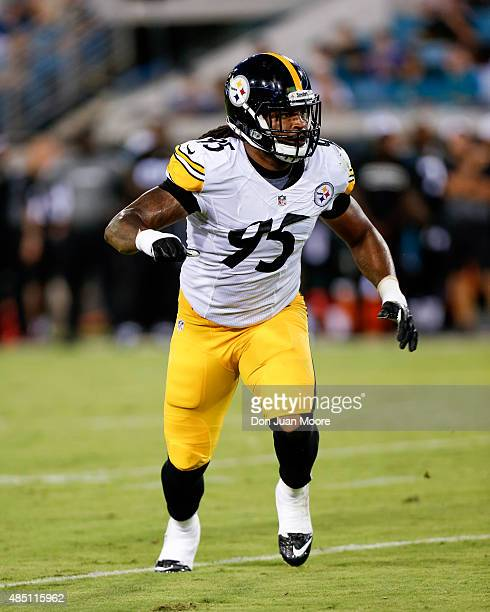 Linebacker Jarvis Jones of the Pittsburgh Steelers during a preseason game against the Jacksonville Jaguars at EverBank Field on August 14 2015 in...
