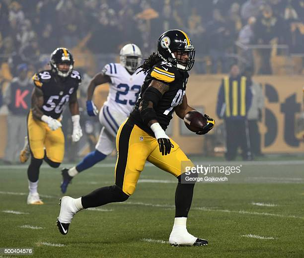 Linebacker Jarvis Jones of the Pittsburgh Steelers runs with the football after intercepting a pass during a game against the Indianapolis Colts at...