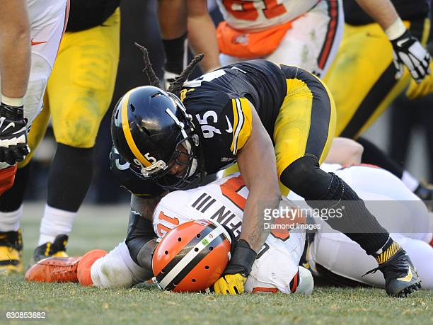 Linebacker Jarvis Jones of the Pittsburgh Steelers sacks quarterback Robert Griffin III of the Cleveland Browns during a game on January 1 2017 at...