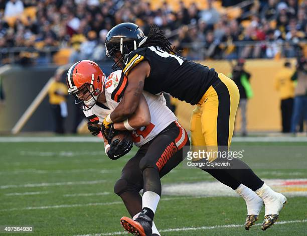 Linebacker Jarvis Jones of the Pittsburgh Steelers tackles tight end Gary Barnidge of the Cleveland Browns during a game at Heinz Field on November...