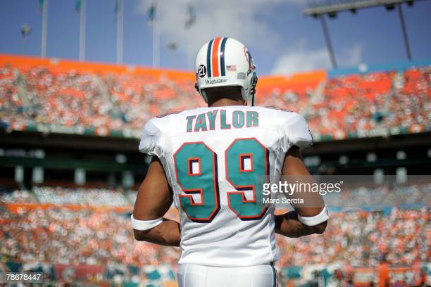 Linebacker Jason Taylor of the Miami Dolphins on the sidelines against the Cincinnati Bengals at Dolphin Stadium December 30 2007 in Miami Florida...