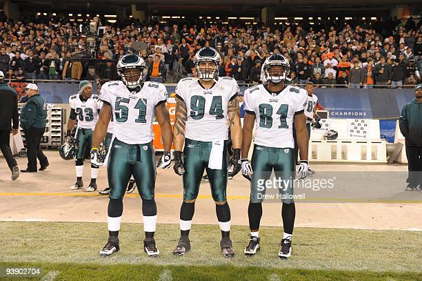 Linebacker Joe Mays defensive end Jason Babin and wide receiver Jason Avant of the Philadelphia Eagles pose for a photo during the game against the...