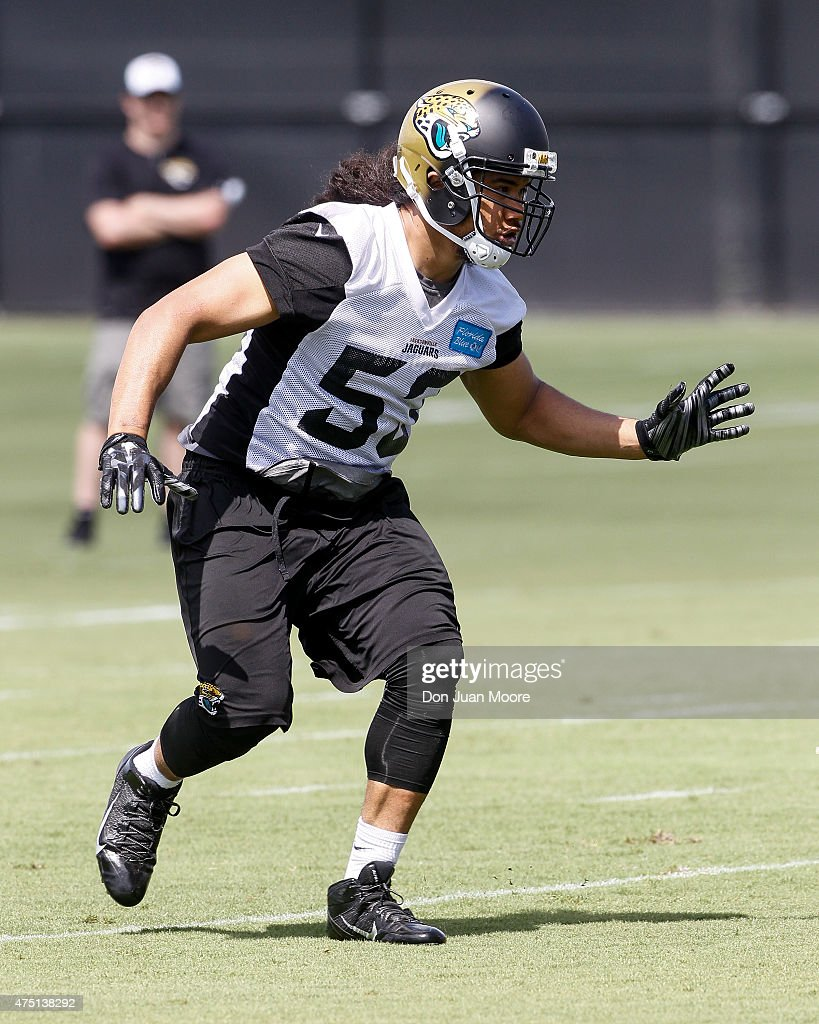 Linebacker John Lotulelei #53 of the Jacksonville Jaguars works out during OTA's at Everbank Field Stadium at the Florida Blue Health and Wellness Practice Fields on May 27, 2015 in Jacksonville, Florida.
