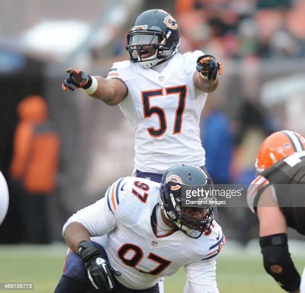 Linebacker Jonathan Bostic of the Chicago Bears calls out the offense before the snap of the football during a game against the Cleveland Browns at...