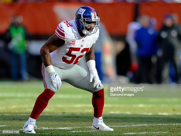 Linebacker Jonathan Casillas of the New York Giants awaits the snap from his position during a game against the Cleveland Browns on November 27 2016...