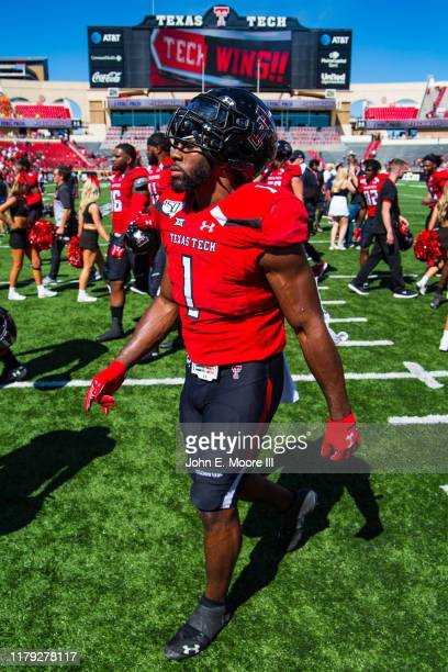 Linebacker Jordyn Brooks of the Texas Tech Red Raiders leaves the field after the college football game against the Oklahoma State Cowboys on October...