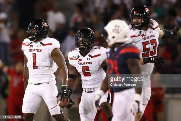 Linebacker Jordyn Brooks of the Texas Tech Red Raiders reacts after recovering a fumble against the Arizona Wildcats during the first half of the...