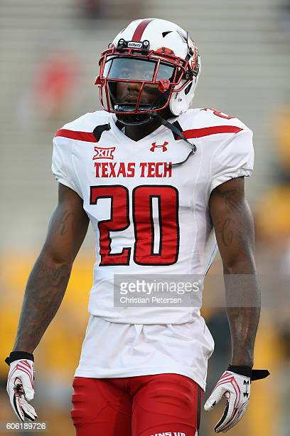 Linebacker Jordyn Brooks of the Texas Tech Red Raiders warms up before the college football game against the Arizona State Sun Devils at Sun Devil...