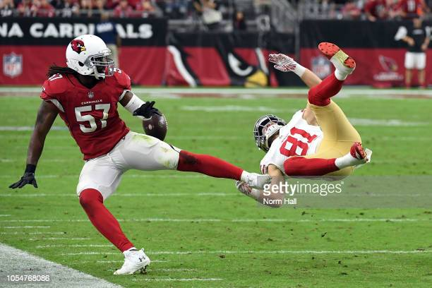 Linebacker Josh Bynes of the Arizona Cardinals breaks up a pass intended for wide receiver Trent Taylor of the San Francisco 49ers during the fourth...