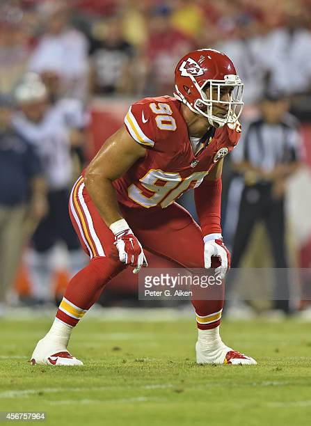 Linebacker Josh Mauga of the Kansas City Chiefs gets set against the New England Patriots during the first half on September 29 2014 at Arrowhead...