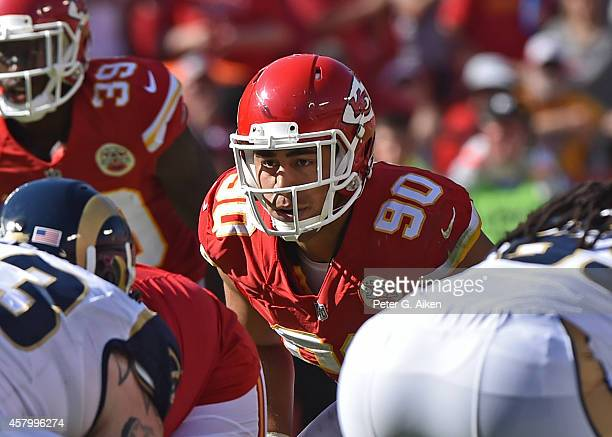 Linebacker Josh Mauga of the Kansas City Chiefs looks across the line against the St Louis Rams during the second half on October 26 2014 at...