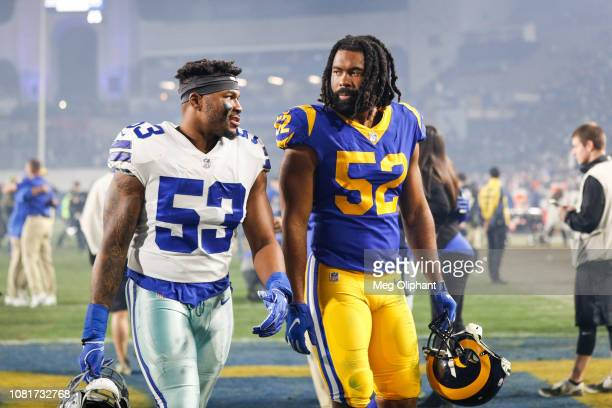 Linebacker Justin MarchLillard of the Dallas Cowboys and inside linebacker Ramik Wilson of the Los Angeles Rams interact after the Los Angeles Rams...