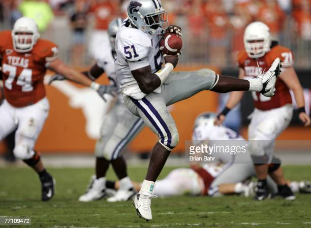 Linebacker Justin Roland of the Kansas State Wildcats catches an interception against the Texas Longhorns in the second quarter on September 29 2007...