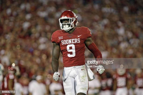 Linebacker Kenneth Murray of the Oklahoma Sooners during the game against the Tulane Green Wave at Gaylord Family Oklahoma Memorial Stadium on...