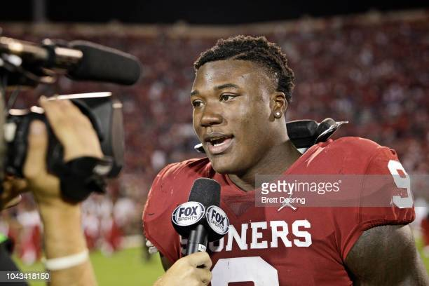 Linebacker Kenneth Murray of the Oklahoma Sooners speaks to the media after the game against the Army Black Knights at Gaylord Family Oklahoma...