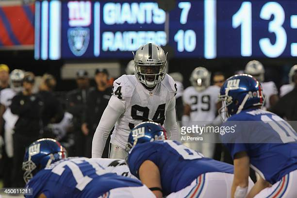 Linebacker Kevin Burnett of the Oakland Raiders follows the action against the New York Giants at MetLife Stadium on November 10 2013 in East...