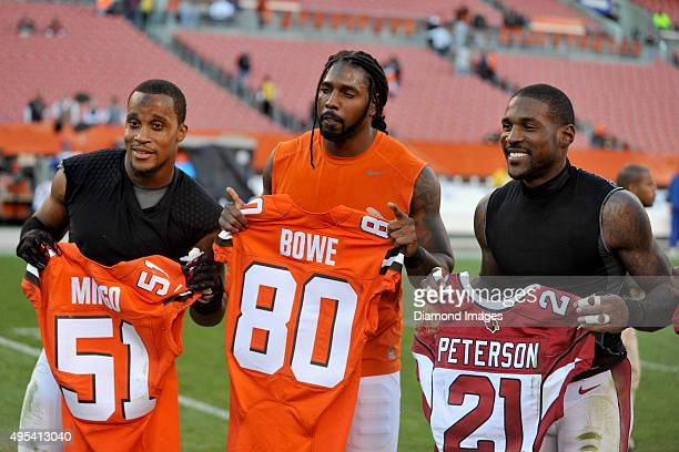 Linebacker Kevin Minter of the Arizona Cardinals wide receiver Dwayne Bowe of the Cleveland Browns and cornerback Patrick Peterson of the Arizona...