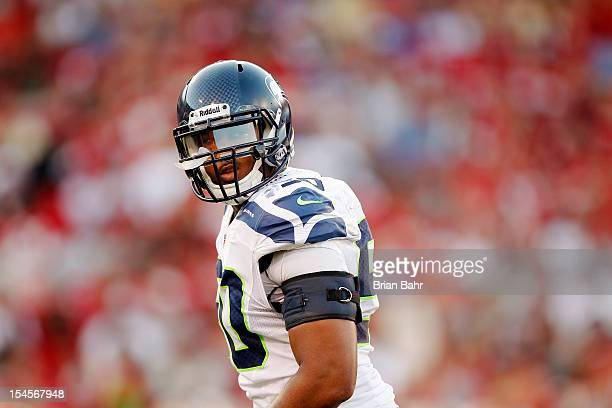 Linebacker KJ Wright of the Seattle Seahawks lines up against the San Francisco 49ers in the first quarter on October 18 2012 at Candlestick Park in...