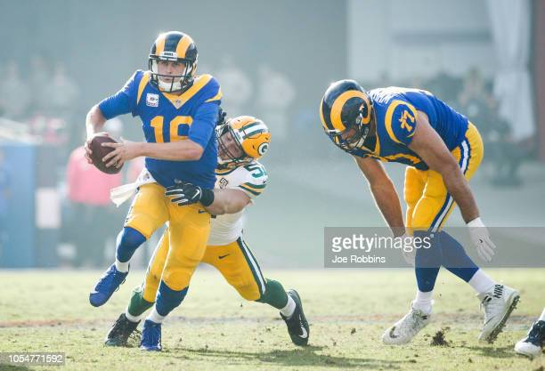 Linebacker Kyler Fackrell of the Green Bay Packers sacks quarterback Jared Goff of the Los Angeles Rams at Los Angeles Memorial Coliseum on October...
