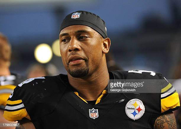 Linebacker LaMarr Woodley of the Pittsburgh Steelers looks on from the sideline during a preseason game against the Kansas City Chiefs at Heinz Field...