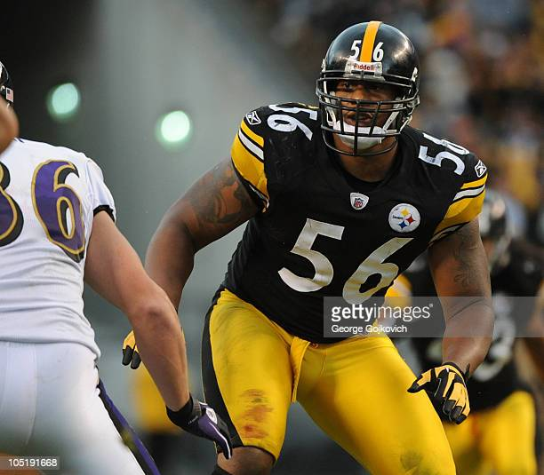 Linebacker LaMarr Woodley of the Pittsburgh Steelers pursues the play during a game against the Baltimore Ravens at Heinz Field on October 3 2010 in...