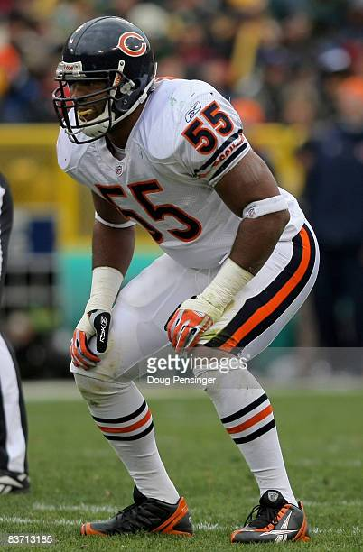 Linebacker Lance Briggs of the Chicago Bears lead his team with eight tackles and two assists against the Green Bay Packers during NFL action at...