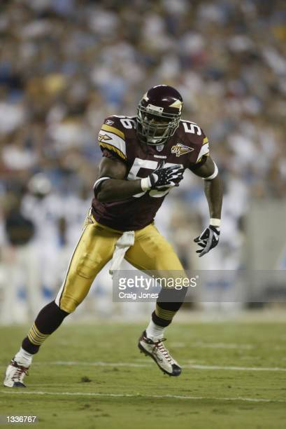 Linebacker LaVar Arrington of the Washington Redskins runs to his left during the NFL preseason game against the Carolina Panthers on August 10 2002...