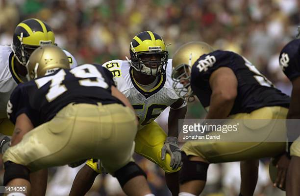 Linebacker Lawrence Reid of Michigan readies for the snap by Notre Dame during the NCAA football game at Notre Dame Stadium in South Bend Indiana on...