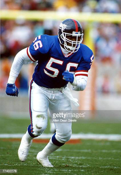 Linebacker Lawrence Taylor of the New York Giants follows the ball in a 21 to 14 win over the Tampa Bay Buccaneers on