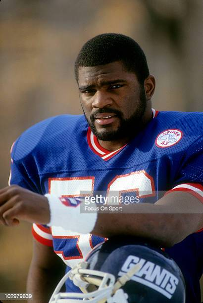 Linebacker Lawrence Taylor of the New York Giants in this portrait circa 1986 at Giant Stadium in East Rutherford New Jersey Taylor played for the...