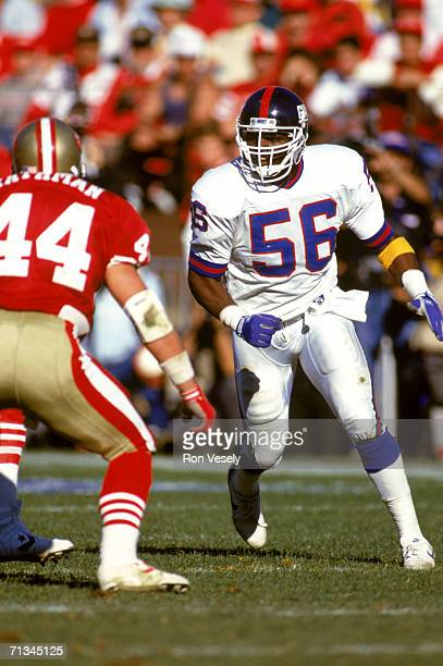 Linebacker Lawrence Taylor of the New York Giants plays defense against the San Francisco 49ers at Candlestick Park in San Francisco California