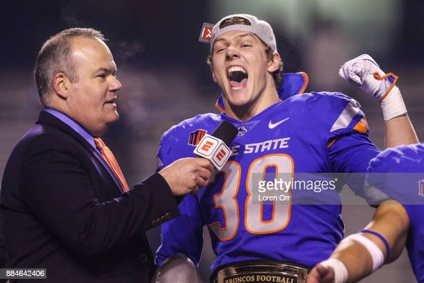 Linebacker Leighton Vander Esch of the Boise State Broncos the Mountain West Defensive Player of the game talks with Jesse Kurtz at the conclusion of...