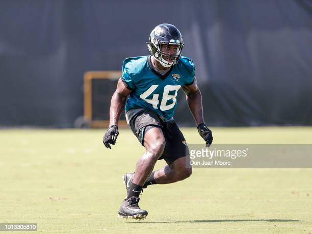 Linebacker Leon Jacobs of the Jacksonville Jaguars works out during Training Camp at Dream Finders Homes Practice Complex on July 27 2018 in...