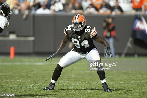 Linebacker Leon Williams of the Cleveland Browns eyes the ball carrier during a game against the Baltimore Ravens at Cleveland Browns Stadium on...