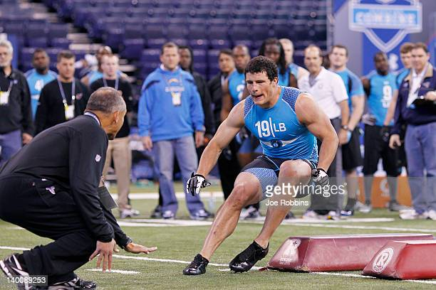 Linebacker Luke Kuechly of Boston College takes part in a drill during the 2012 NFL Combine at Lucas Oil Stadium on February 27 2012 in Indianapolis...