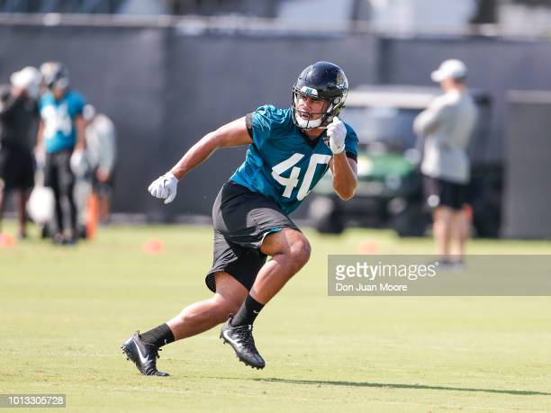 Linebacker Manase Hungalu of the Jacksonville Jaguars works out during Training Camp at Dream Finders Homes Practice Complex on July 27 2018 in...