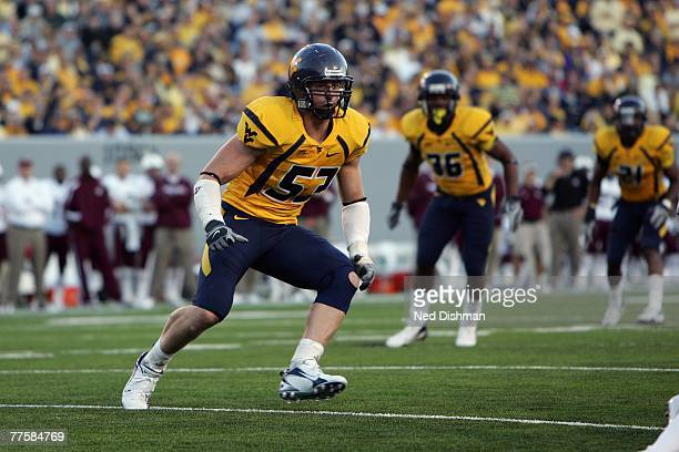 Linebacker Marc Magro of the West Virginia University Mountaineers defends against the Mississippi State Bulldogs on October 20 2007 at Milan Puskar...