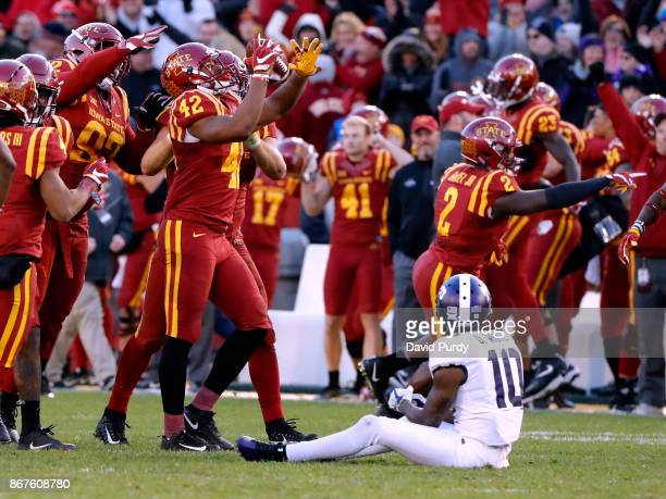 linebacker Marcel Spears Jr #42 of the Iowa State Cyclones celebrates after intercepting a pass meant for wide receiver Desmon White of the TCU...