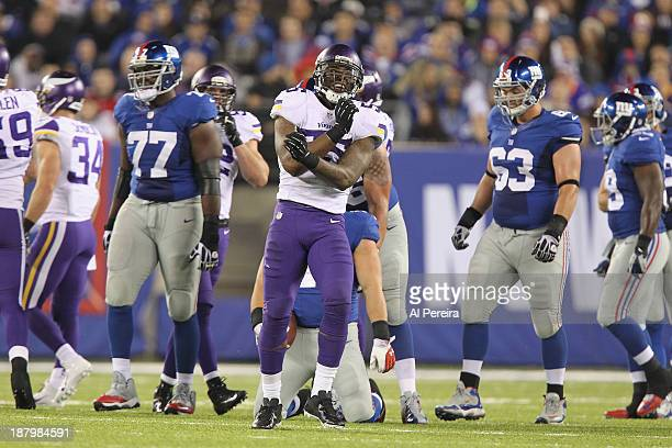 Linebacker Marvin Mitchell of the Minnesota Vikings makes a stop against the New York Giants at MetLife Stadium on October 21 2013 in East Rutherford...