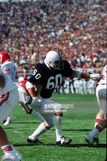 Linebacker Matt Millen of the Penn State University Nittany Lions pursues the play during a college football game at Beaver Stadium in September 1979...