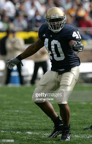 Linebacker Maurice Crum Jr. #40 of the Notre Dame Fighting Irish is seen on the field against the Purdue Boilermakers September 30, 2006 at Notre...