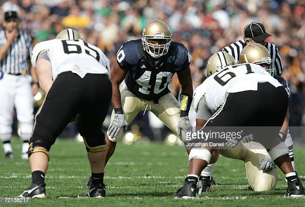 Linebacker Maurice Crum Jr. #40 of the Notre Dame Fighting Irish lines up on defense against the Purdue Boilermakers September 30, 2006 at Notre Dame...